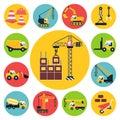 Construction icons set vehicle flat vector illustration Royalty Free Stock Photos