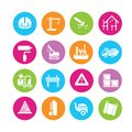 Construction icons tools and engineering in colorful round buttons Stock Photos