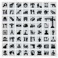 Construction icons vector black icon set on gray Stock Image