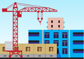 Construction illustration of the of residential houses and high rise crane Stock Photography