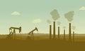 Construction industry silhouette landscape