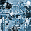 Construction jigsaw twenty five piece showing range of trades Stock Images