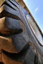 Construction loader tyre in wide view angle Royalty Free Stock Photography