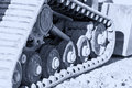 Construction machine track steel steel chains. Tank wheels excav Royalty Free Stock Photo