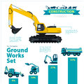 Construction machinery infographic big set of ground works machines vehicles on white background.