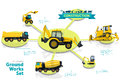 Construction machinery infographic big set of ground works machines. Royalty Free Stock Photo