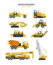 Construction machines, trucks, vehicles for transportation, asphalt, concrete mixing, crane.