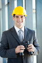 Construction manager with binoculars Stock Photos