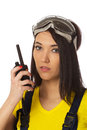 Construction manager with cb radio close up portrait. Royalty Free Stock Photography