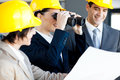 Construction manager viewing site Stock Photos