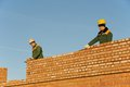 Construction mason worker bricklayers Royalty Free Stock Photo
