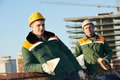 Construction mason worker bricklayers Royalty Free Stock Photo