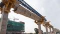 Construction of a mass rail transit line in progress Royalty Free Stock Photo