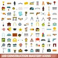 100 construction mastery icons set, flat style