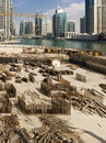 Construction of modern buildings buildings in Dubai Marina Royalty Free Stock Photo