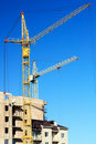 Construction of multi-storied brick houses Royalty Free Stock Photos