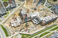 Construction of new building in a residential area. aerial view of big construction site Royalty Free Stock Photo
