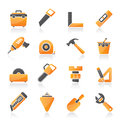Construction objects and tools icons vector icon set Royalty Free Stock Image
