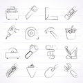 Construction objects and tools icons vector icon set Royalty Free Stock Photo
