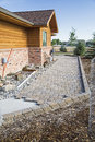 Construction patio pavers sidewalk Royalty Free Stock Photo
