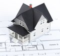 Construction plan with house architectural model Royalty Free Stock Photos