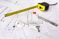 Construction plans on blueprints