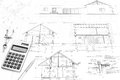 Construction plans and tools drawing compass calculator pencil architectural drawings of modern house Royalty Free Stock Photos