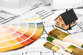 Construction plans with whitewashing Tools Colors Palette and Mi