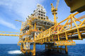 Construction platform for production energy.Oil and gas platform in the gulf or the sea, The world energy