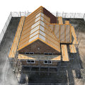 Construction of private houses of brick on white. Angle from up. 3D illustration