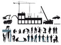 Construction project illustration of with cranes excavators digger concrete delivery truck and silhouettes of various workers Royalty Free Stock Image