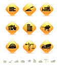 Construction and realty icons on yellow rhombic buttons vector illustration Royalty Free Stock Image