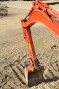 Construction red excavator dozer bucket detail Stock Images