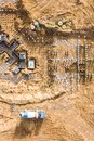 Construction of reinforced concrete foundation. aerial view from flying drone Royalty Free Stock Photo