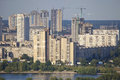 Construction of residential district on left bank the dnieper in kiev Stock Photo