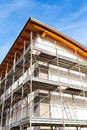 Construction scaffolding of a building under renovation. Royalty Free Stock Photo
