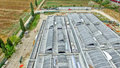 Construction site, aerial view from drone Royalty Free Stock Photo