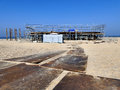 Construction site on beach. Building in progress Royalty Free Stock Photo