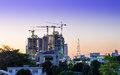 Construction site building at dusk bangkok thailand Stock Photography