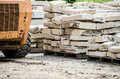 Construction site with building materials and equipment stack of building stone blocks at Royalty Free Stock Photography
