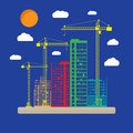 Construction site with buildings and cranes icon Royalty Free Stock Photo