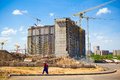 The construction site. Construction of the new building. Royalty Free Stock Photo