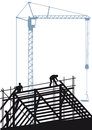 Construction site with crane illustration of workers shown in silhouette constructing a steel framework scaffolding and a computer Royalty Free Stock Photo