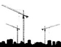 Construction site with cranes and silhouettes buildings on a white background Royalty Free Stock Photo