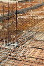 Construction site detail building of a reinforced concrete floor Royalty Free Stock Photo