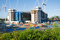 Construction site with a few cranes at final stage Royalty Free Stock Images