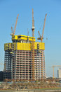 Construction site. High tower yellow cranes. Stock Photography