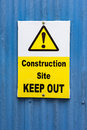 Construction site keep out sign Royalty Free Stock Photo
