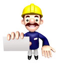 Construction site man showing a business card work and job character design series Stock Images