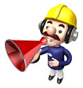 The construction site man in to promote sold as a loudspeaker work and job character design series Royalty Free Stock Image